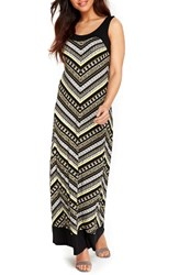Wallis Women's Blocked Chevron Maxi Dress Lime Chartreuse
