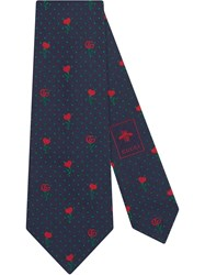 Gucci Double G Silk Tie With Hearts And Flowers Blue