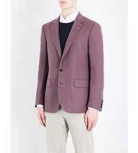 Gieves And Hawkes Regular Fit Linen Jacket Plum