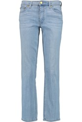 Tory Burch Mid Rise Straight Leg Jeans Mid Denim