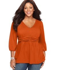 Ny Collection Plus Size Three Quarter Sleeve Ruched Empire Waist Top Cayenne