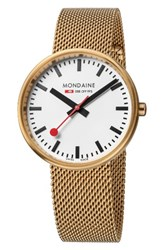 Mondaine Women's Evo Lution Mesh Strap Watch 35Mm Gold White Gold