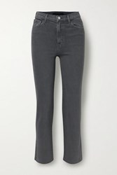 J Brand Jules Distressed High Rise Straight Leg Jeans Dark Gray
