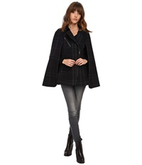 Only Pinar Checked Wool Cape Dark Navy Women's Coat
