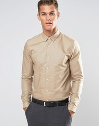 Asos Oxford Shirt In Stone In Regular Fit Stone