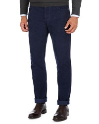 Isaia Needle Corduroy Straight Leg Pants Blue