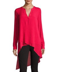 Catherine Malandrino Long Sleeve High Low Blouse Red