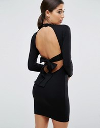 Asos High Neck Bodycon Mini Dress With Bow Back Black