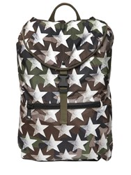 Valentino Camo And Stars Printed Nylon Backpack
