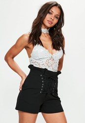 Missguided Black Super High Waisted Corset Detail Shorts