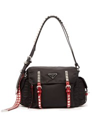 Prada Vela Leather Trimmed Cross Body Bag Black Multi