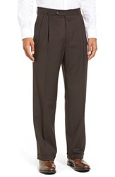 Men's Big And Tall Ballin Pleated Solid Wool Trousers Brown