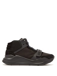 Burberry High Top Suede And Neoprene Trainers Black