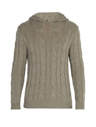 Ralph Lauren Purple Label Cashmere Cable Knit Hooded Sweater Grey