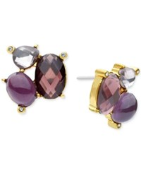 Lonna And Lilly Faceted Stone Cluster Stud Earrings Purple Gold