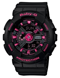 G Shock Baby G Ladies Analog Digital Black And Hot Pink Watch