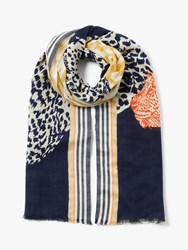 John Lewis Collection Weekend By Safari Cats Scarf Navy Mix