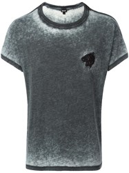 Just Cavalli Tiger Embroidery T Shirt Grey