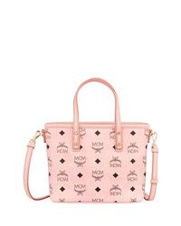 Mcm Anya Mini Logo Shopper Bag Soft Pink