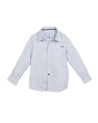 Mayoral Woven Tiny Star Print Button Down Top Blue