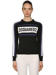 Dsquared Velvet Logo Patches Wool Blend Sweater Black Blue