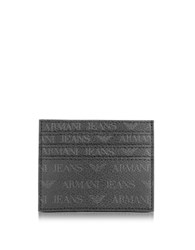 Armani Jeans Black Signature Eco Leather Men's Card Holder