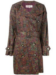 Yves Saint Laurent Vintage Floral Print Trench Coat Red