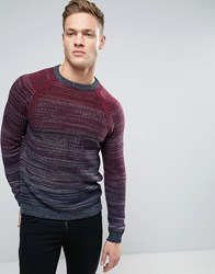 Sisley Crew Neck In Chunky Knit With Mixed Stripe Detail Burgundy 902 Red