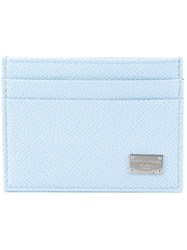 Dolce And Gabbana Dauphine Leather Card Holder Blue