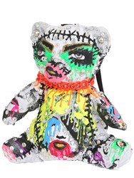 Patricia Field Art Fashion Tom Tom Bear Hand Painted Bear Backpack