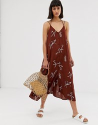 Weekday Sign Print Midi Cami Dress In Rust Multi