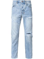 Ksubi Distressed Tapered Jeans Blue