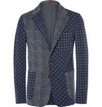 Barena Blue Slim Fit Patchwork Jacquard Cotton Blend Blazer Navy