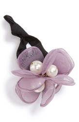 Cara Flower And Imitation Pearl Ponytail Holder Lilac