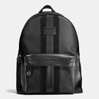 Coach Campus Backpack Rip And Repair With Varsity Stripe Black Antique Nickel Black