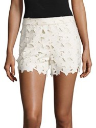 Alice Olivia Amaris Faux Leather And Lace Shorts Cream