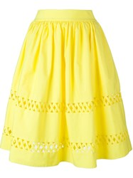 Alice Olivia Alice Olivia Cut Out Midi Skirt Yellow And Orange