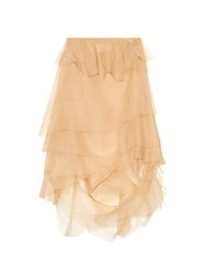 Marques Almeida Tiered Ruffled Silk Organza Midi Skirt