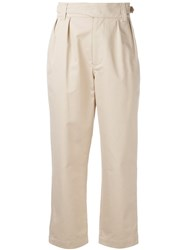 Maison Kitsune High Waisted Trousers Nude Neutrals