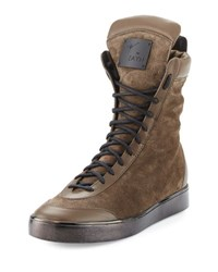 Giuseppe Zanotti X Zayn Suede Boxing High Top Sneaker Moro Brown
