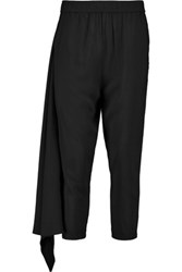 Oak Cropped Crepe Tapered Pants Black