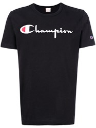 Champion Logo Print T Shirt Cotton Black