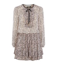 Juicy Couture Empress Leopard Print Pleated Dress Female Blue