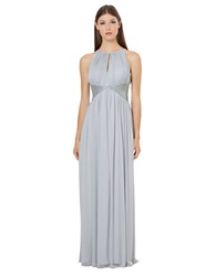 Js Boutique Sequined Empire Waist Gown Silver