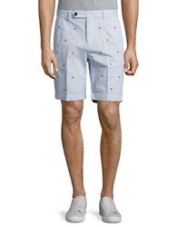 Brooks Brothers Pinwheel Embroidered Seersucker Shorts Blue