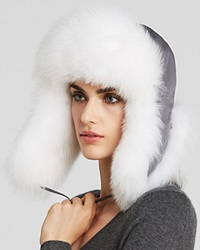 Maximilian Fox Fur Trimmed Trooper Hat Grey White