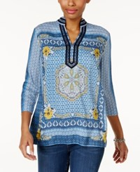 Charter Club Embellished Printed Tunic Only At Macy's Smokey Sky Combo