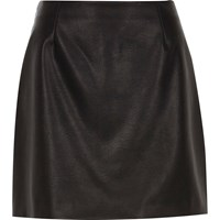 River Island Womens Black Faux Leather Mini Skirt