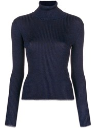 Marco De Vincenzo Ribbed Turtle Neck Sweater Blue