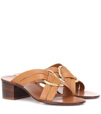Chloe Rony Leather Sandals Brown